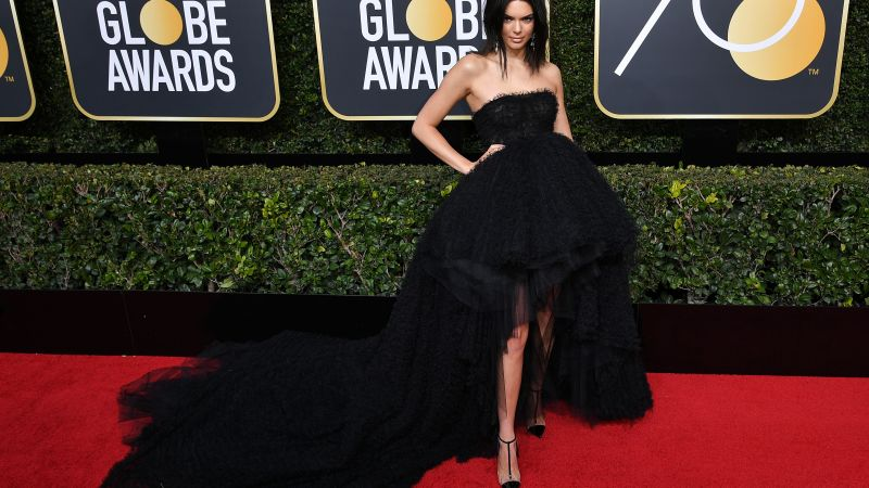 Kendall Jenner, dress, Golden Globes 2018, 4k (horizontal)