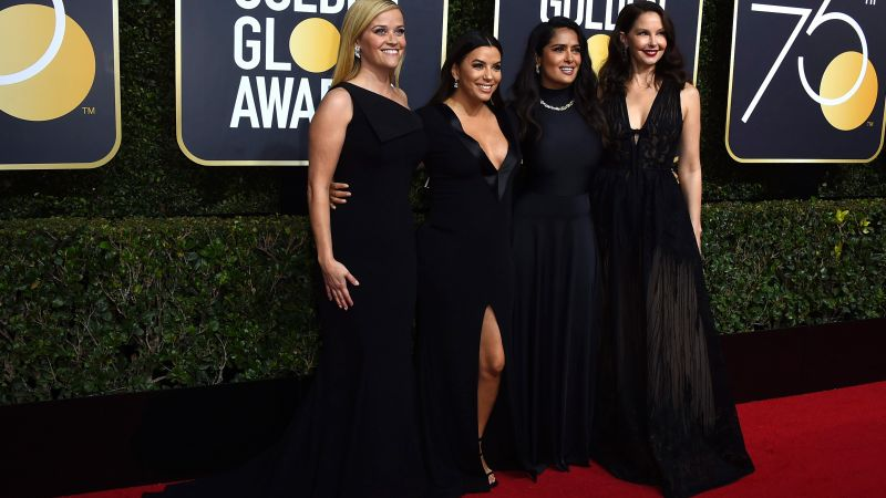 Reese Witherspoon, Eva Longoria, Salma Hayek, Ashley Judd, photo, Golden Globes 2018, 4k (horizontal)