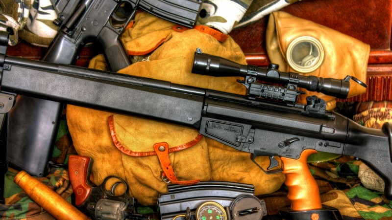 K 94, sniper rifle, m16a1, compass, FPS-200, scope, ammunition, bullets (horizontal)