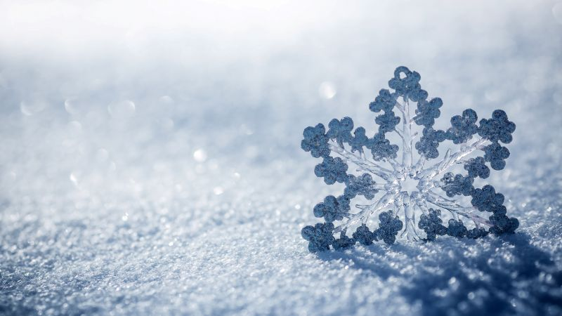snow, winter, snowflake, 4k (horizontal)