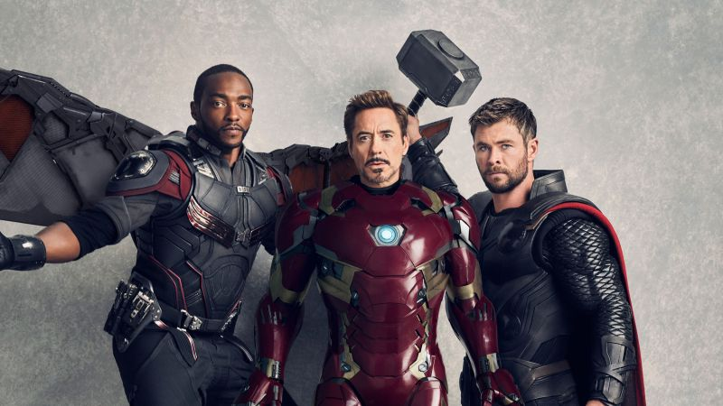 Avengers: Infinity War, Falcon, Iron Man, Thor, Anthony Mackie, Robert Downey Jr., Chris Hemsworth, 5k (horizontal)