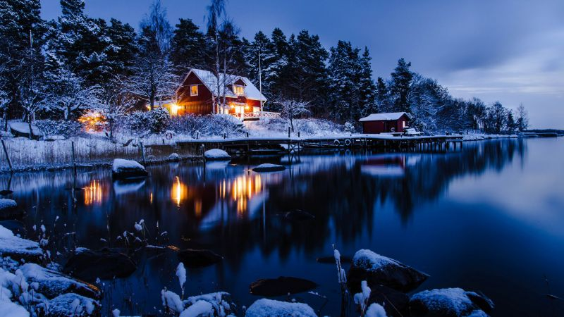 house, lake, trees, winter, 5k (horizontal)