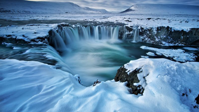 Godafoss, waterfall, winter, Iceland, 5k (horizontal)