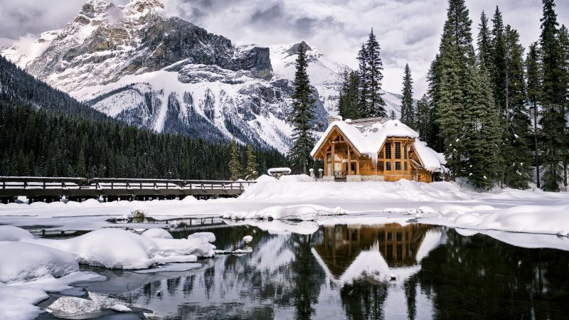 mountains, house, lake, trees, winter, 4k (horizontal)