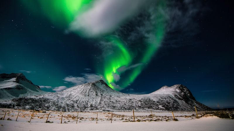 northern lights, sky, winter, mountains, 4k (horizontal)