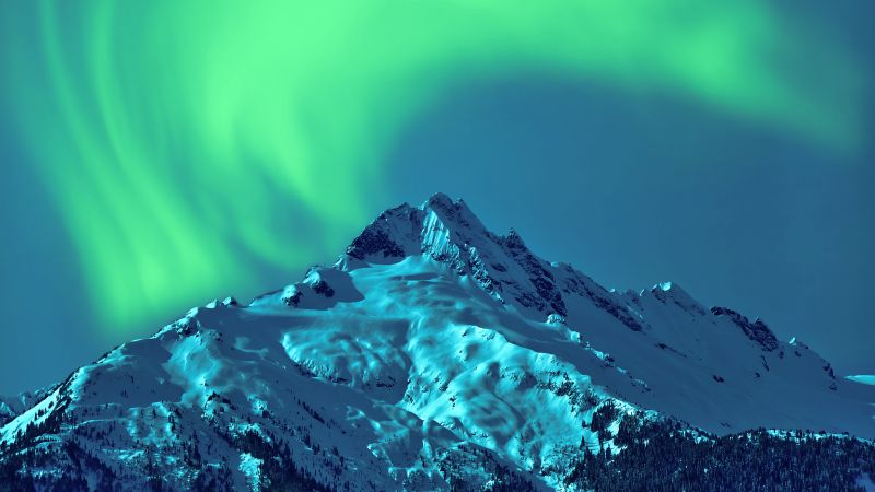Aurora Borealis, sky, winter, mountains, 5k (horizontal)