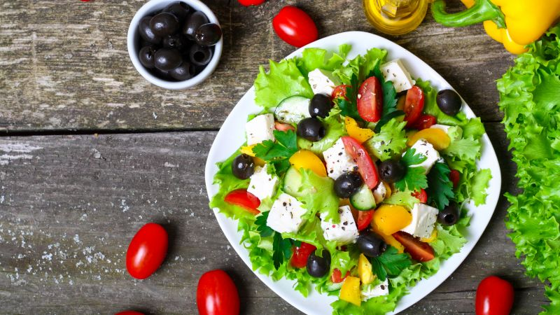 Greek, cooking, recipe, lettuce, tomatoes, paprika, olives, feta, 4k (horizontal)