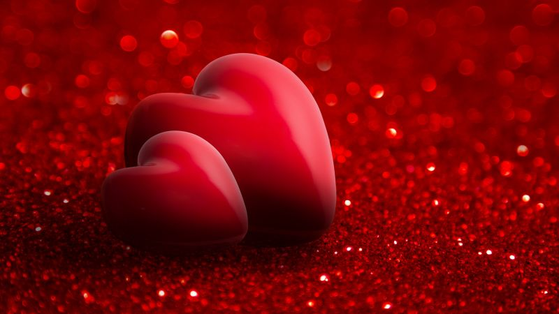 Valentine's Day, love image, heart, red, 4k (horizontal)