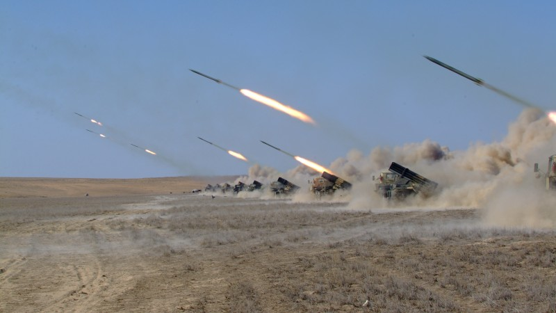 Naiza, MRL, multiple rocket launcher, artillery, Kazakhstan Armed Forces, desert, firing (horizontal)