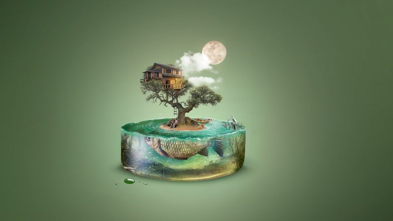 art, tree, fish, island, house, underwater, 4k (horizontal)