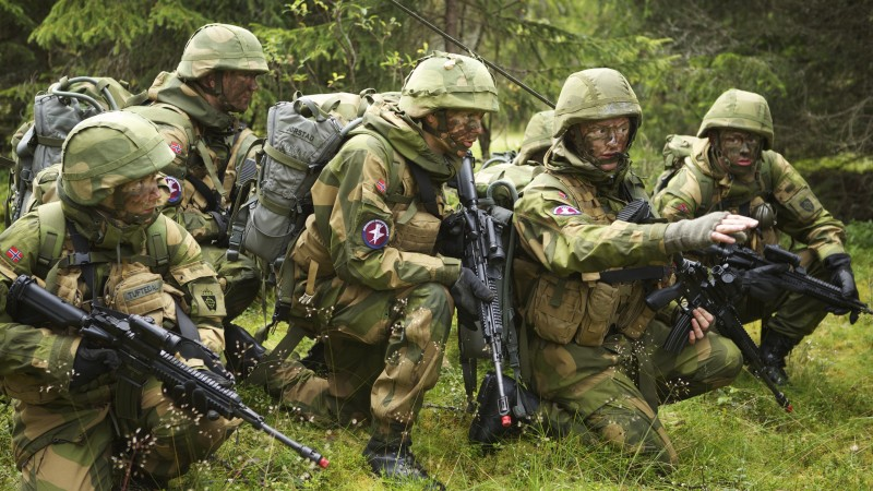 Norwegian Army, Norwegian Armed Forces, soldier, camo, mission, rifle, forest (horizontal)