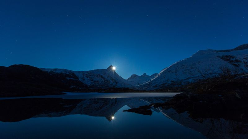 night, mountains, lake, 4k (horizontal)