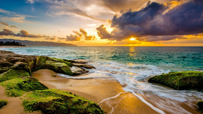 Hawaii, sunset, beach, ocean, coast, sky, 4k (horizontal)