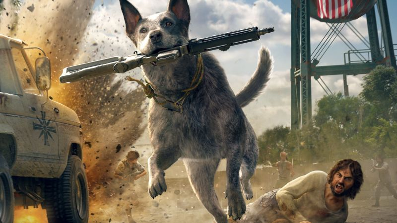 Far Cry 5, screenshot, dog, 5k (horizontal)