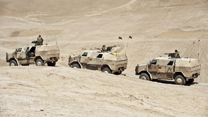 ATF Dingo, KMW, infantry mobility vehicle, MPPV PC, convoy, Afghanistan, Bundeswehr (horizontal)
