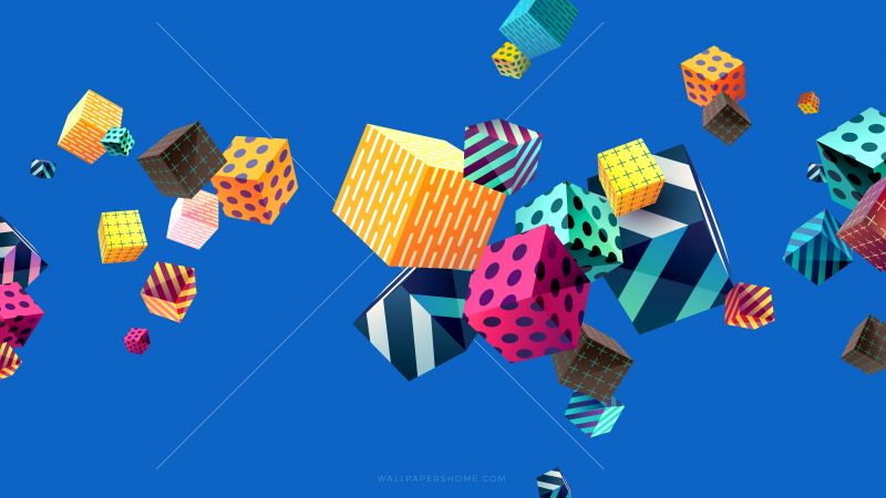 Abstract Cubes Colorful Modern 4k 5k 8k Horizontal
