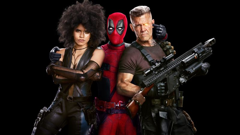 Deadpool 2, Zazie Beetz, Ryan Reynolds, Josh Brolin, 4k (horizontal)