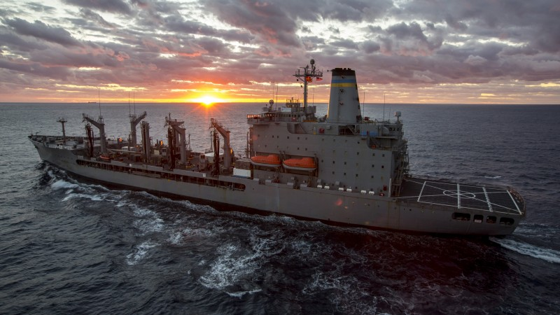 USNS John Lenthall, T-AO 189, Military Sealift Command, atlantic ocean, BA14, U.S. Navy, sea, sunset (horizontal)
