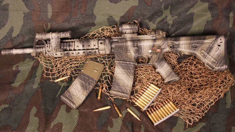 AR-15, rifle, U.S. Armed Force, semi-automatic, multicam, camo, ammunition (horizontal)