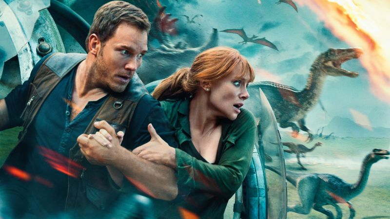 Jurassic World: Fallen Kingdom, Chris Pratt, Bryce Dallas Howard, dinosaur, 5k (horizontal)