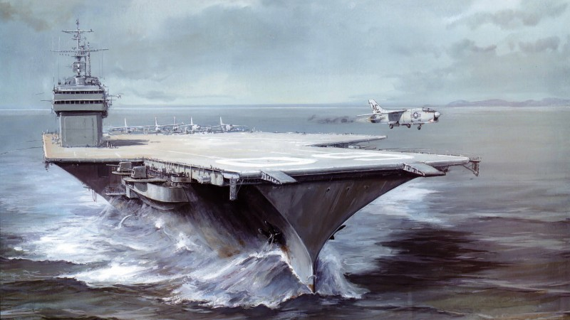 USS Saratoga, CVA 60, CVB-60, carrier, Forrestal-class, aircraft, art, painting (horizontal)