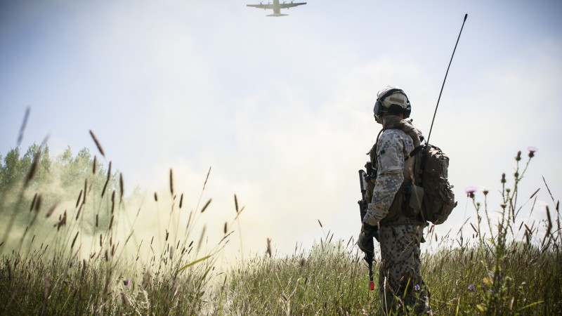 soldier, camo, aircraft, weapon, field, sky, greens, peace (horizontal)