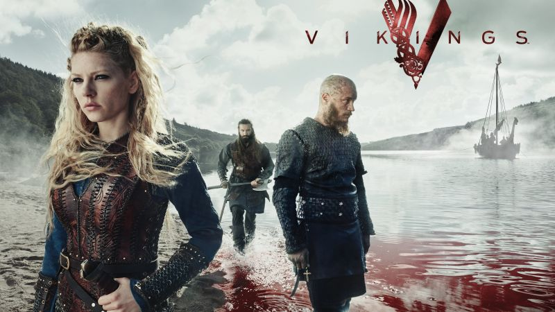 Vikings, season 5, Travis Fimmel, Katheryn Winnick, 4K (horizontal)