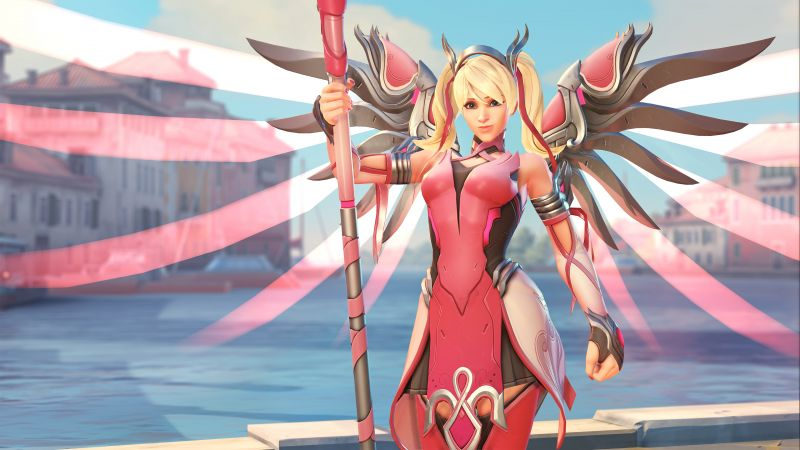 Overwatch, Mercy, Pink Mercy Skin, screenshot, 4k (horizontal)