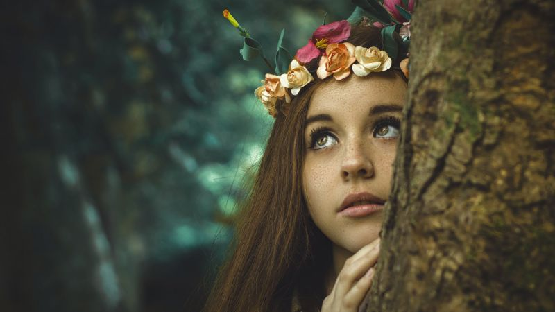 Face, crown, royal, model, photo, brunette, 4K (horizontal)