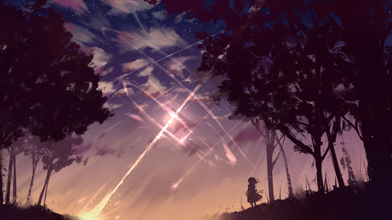 Wallpaper Long Hair Shooting Star Wind 4k 5k Art 18451