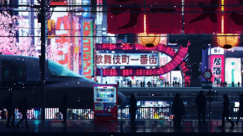 Cyberpunkstreets, City, People, 4K (horizontal)