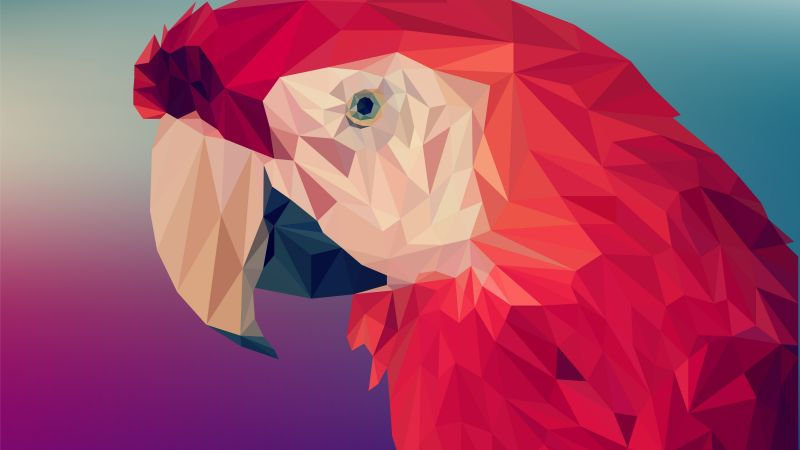 Digital Art, Parrot, Polygon, 4K, 6K (horizontal)