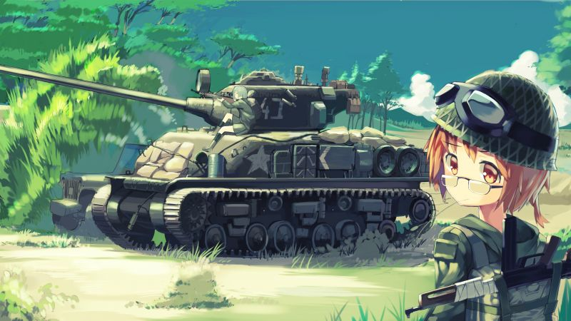 Girl, tank, war, 4K, 5K (horizontal)