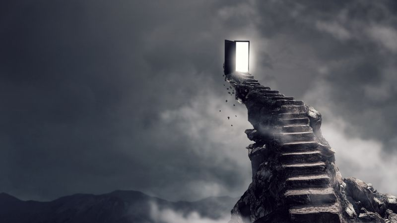 Stairs, surrealism, dark, 4K (horizontal)