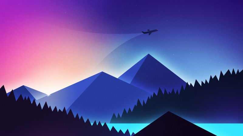 Plane, minimalism, colors, 4K (horizontal)