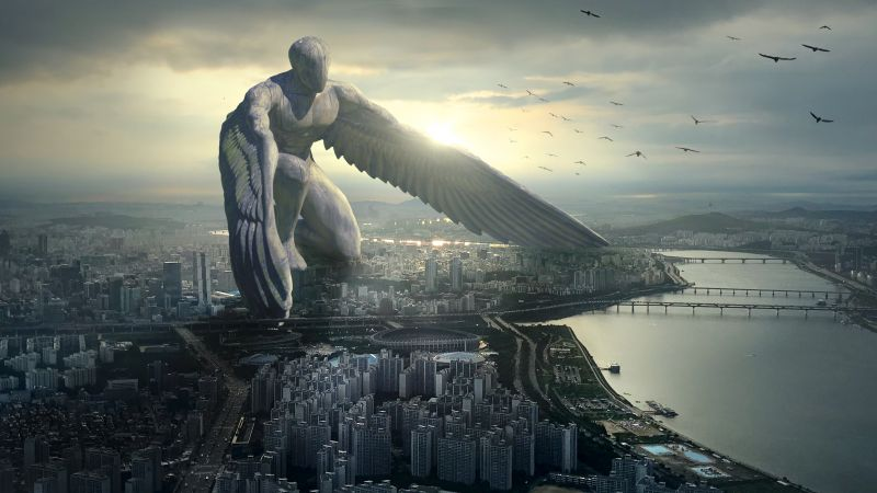 Giant Angel, city, 6K (horizontal)