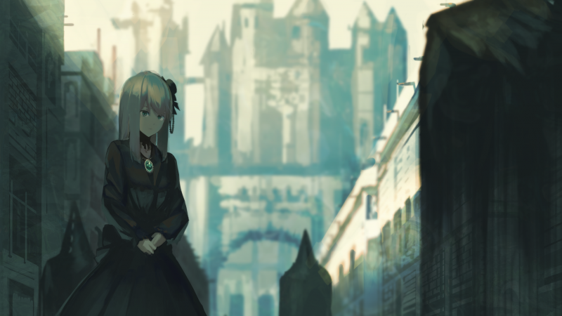 Anime, girl, castle, 4K (horizontal)