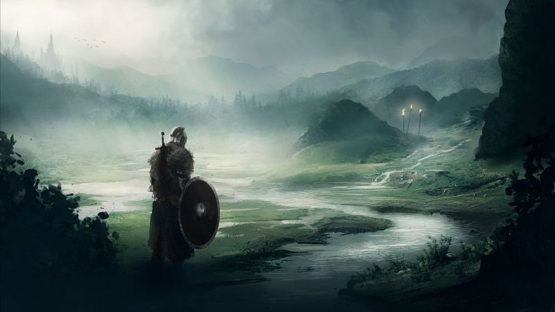 Dark Souls, fan art, warrior, 5K (horizontal)