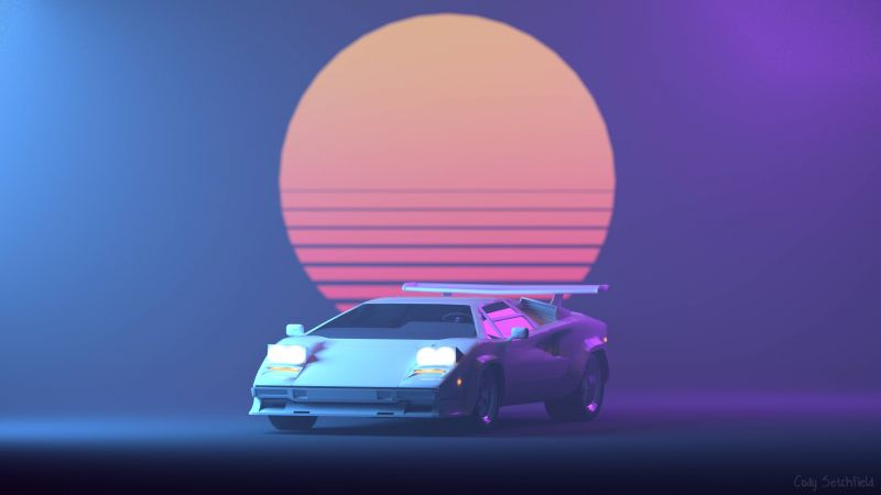 Retrowave, Purple, Lamborghini Countach, 4K (horizontal)