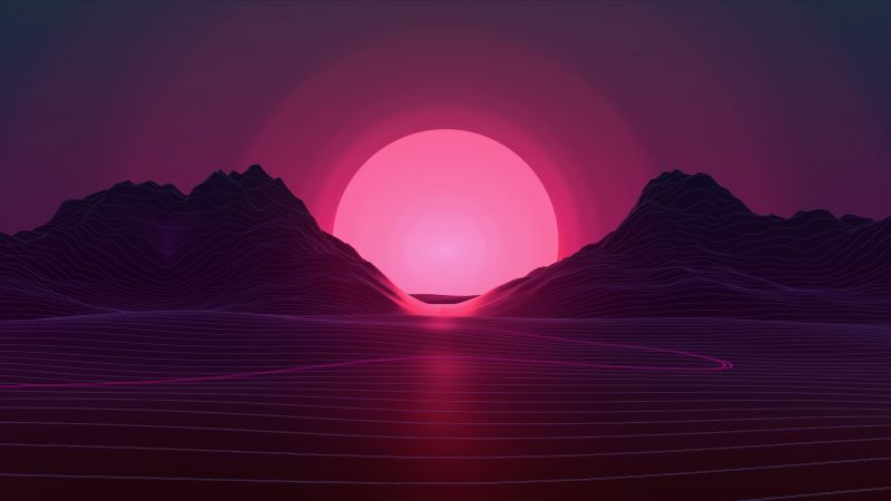Retrowave, lines, sunset, 4K (horizontal)