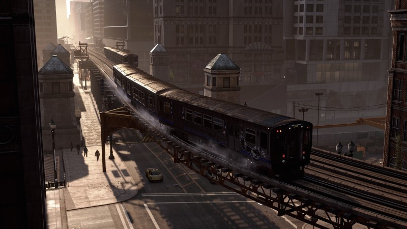 Watch Dogs, game, action, adventure, train, city, rails, screenshot, 4k, 5k, PC, 2015 (horizontal)
