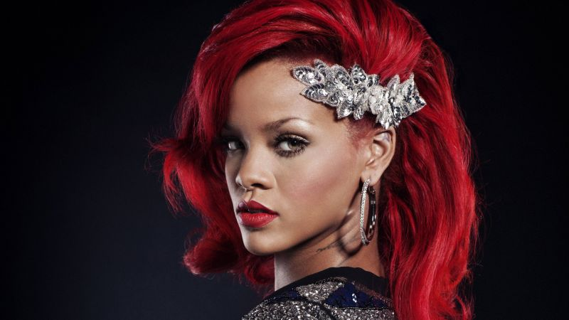 Rihanna, Singer, red, hair, 4K (horizontal)