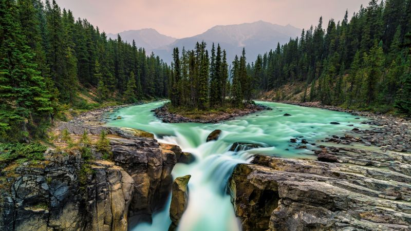 Jasper National Park, Canada, waterfall, 5K (horizontal)