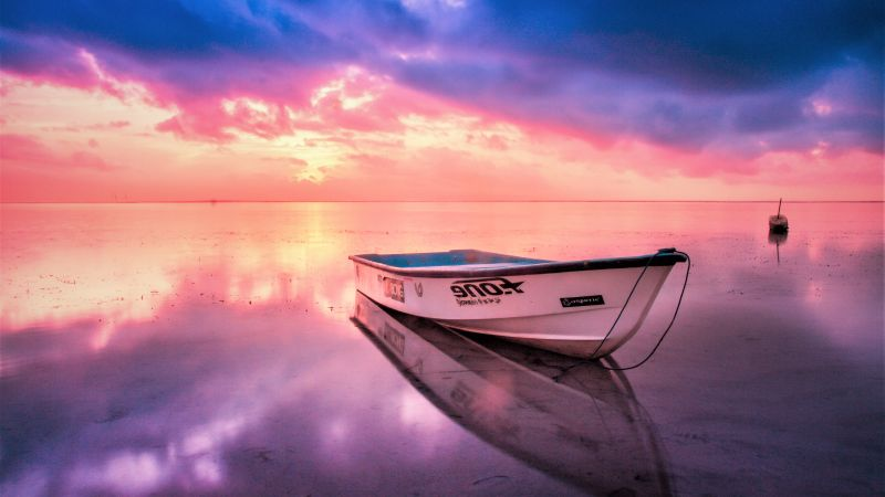 reflection, boat, sunset (horizontal)