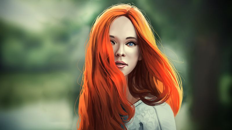 girl, red, hair, 4K (horizontal)