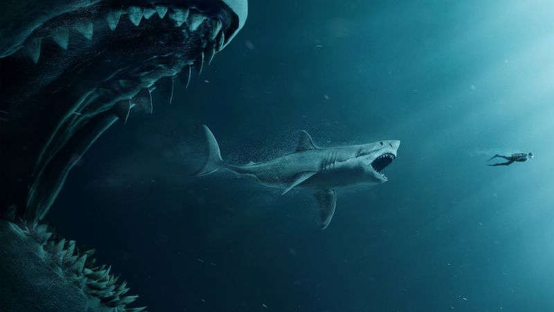 The Meg, shark, diver, 4K (horizontal)