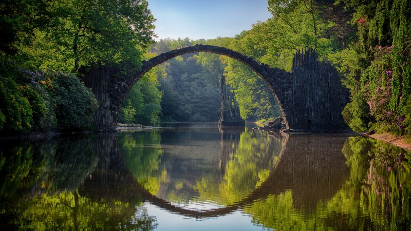 Rakotzbrücke Devil's Bridge, Germany, Europe, 5K (horizontal)