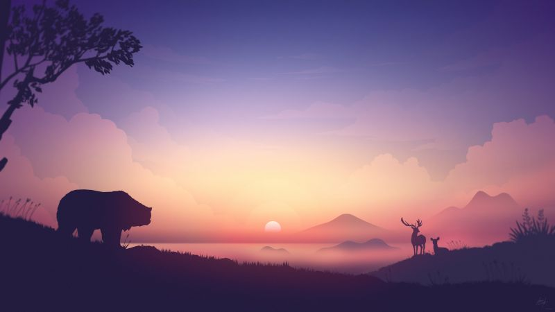sunset, bear, deer, 8K (horizontal)
