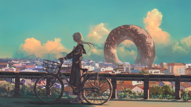 girl, bicycle, city, 4K (horizontal)
