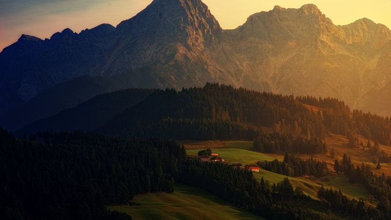 sunset, forest, mountains, 6K (horizontal)